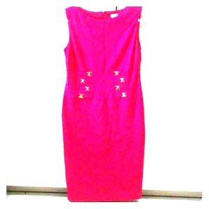 Cache Pink Dress Gold Buckles